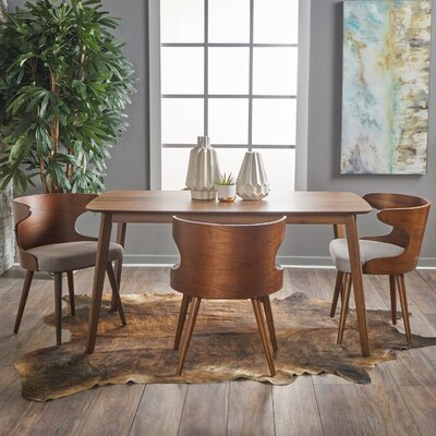 Van 5 Piece Dining Set Upholstery Color: Beige/Grey, Finish: Natural Walnut