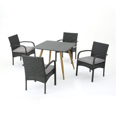 Downton Outdoor 5 Piece Dining Set with Cushions Color: Gray