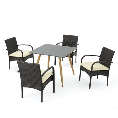 Downton Outdoor 5 Piece Dining Set with Cushions Color:  Brown