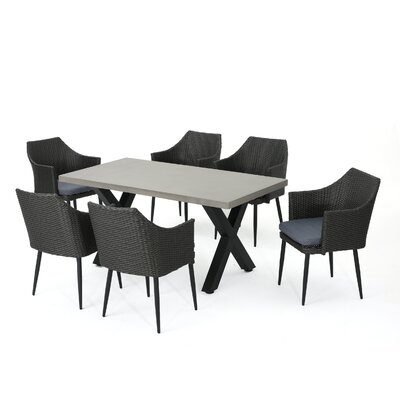 Callidora Outdoor 7 Piece Dining Table Set with Cushions Color: Mixed Black