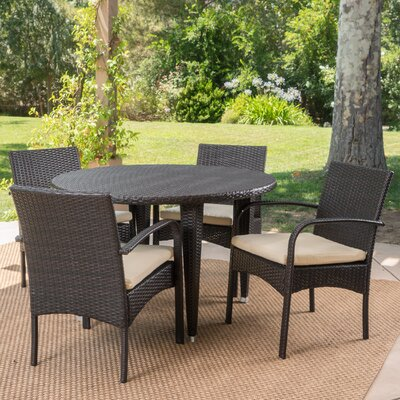 Steadham 5 Piece Dining Set Color: Brown