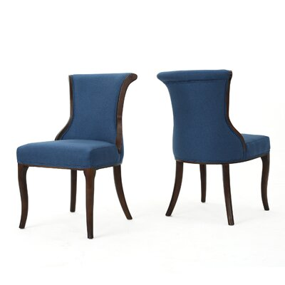 Glenhaven Upholstered Dining Chair Color: Dark Navy