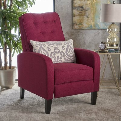Apfel Fabric Push Back Mechanism Recliner Upholstery: Deep Red