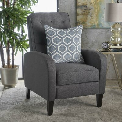 Apfel Fabric Push Back Mechanism Recliner Upholstery: Dark Gray