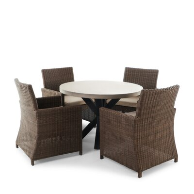 Lettie Outdoor Wicker 5 Piece Dining Set