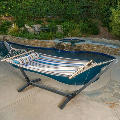 Danby Outdoor Hammock with Stand Color: Brown/Blue/White