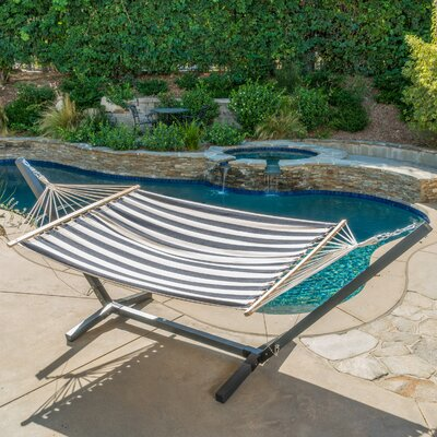 Danby Outdoor Hammock with Stand Color: Navy Blue/White