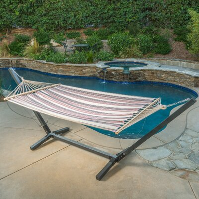 Danby Outdoor Hammock with Stand Color: White/Navy Blue/Red