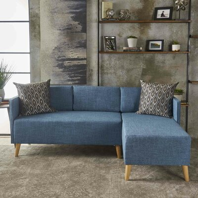 Ferrel Fabric Chaise Sectional Color: Muted Blue