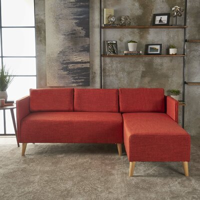 Ferrel Fabric Chaise Sectional Color: Muted Orange