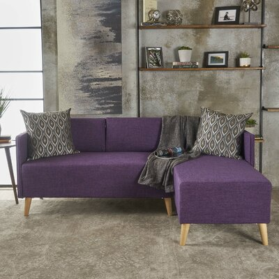 Ferrel Fabric Chaise Sectional Color: Muted Purple