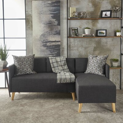 Ferrel Fabric Chaise Sectional Color: Muted Dark Gray