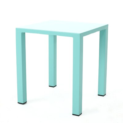 Fennia Square Outdoor Aluminum End Table Color: Teal