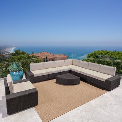 Hults Outdoor 9 Piece Reversible Modular Sectional Color: Dark Brown