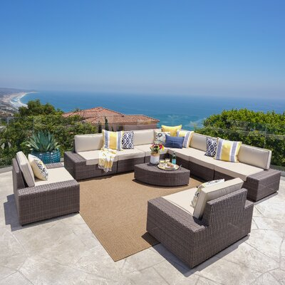 Hults Outdoor 10 Piece Rattan Sofa Set with Cushions
