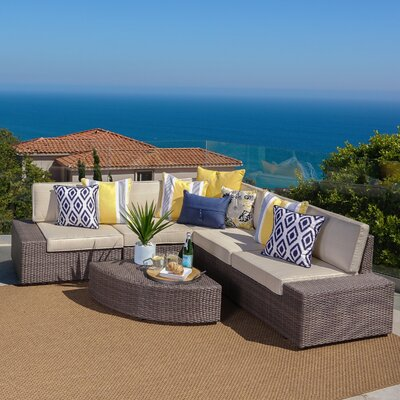 Hults Outdoor 6 Piece Rattan Sofa Set with Cushions