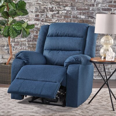 Taos Mesa Fabric Power Push Button Recliner Color: Navy Blue
