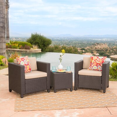 Nicolino Outdoor Wicker 3 Piece Deep Seating Group Fabric: Dark Brown
