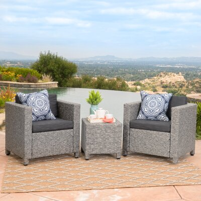 Nicolino Outdoor Wicker 3 Piece Deep Seating Group Fabric: Mixed Black