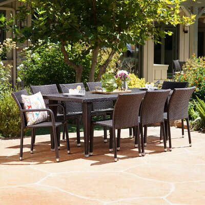 Kaila Outdoor 9 Piece Wicker Dining Set