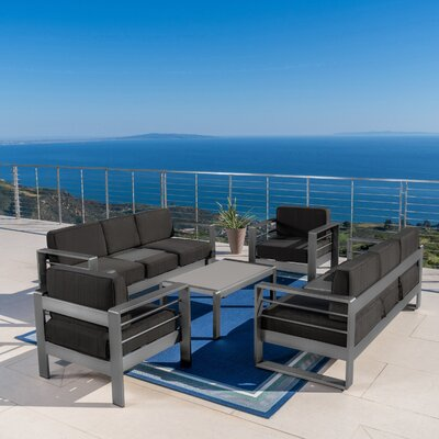 Crosstown Outdoor 5 Piece Sofa Set with Cushions