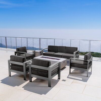 Crosstown Outdoor 7 Piece Conversation Set with Cushions Fabric: White