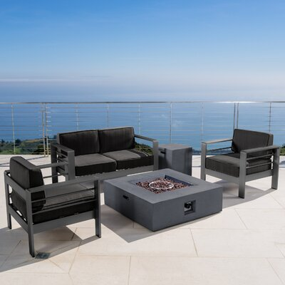 Crosstown Outdoor 5 Piece Conversation Set with Cushions