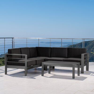 Crosstown Outdoor 4 Piece Sectional Set with Cushions