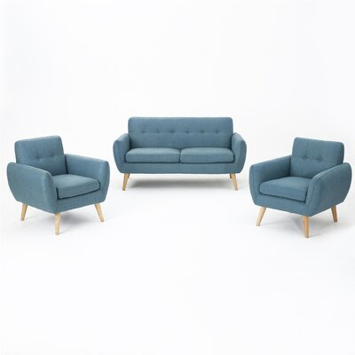 Erinn 3 Piece Living Room Set Upholstery: Blue