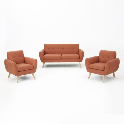 Erinn 3 Piece Living Room Set Upholstery: Burnt Orange