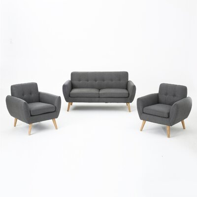 Erinn 3 Piece Living Room Set Upholstery: Dark Gray
