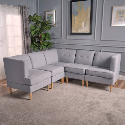 Cassady Modular Sectional Upholstery: Light Gray