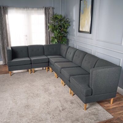 Farberware Reversible L-Shape Modular Sectional Upholstery: Dark Gray