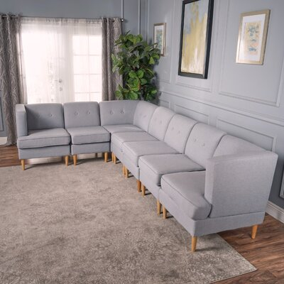 Farberware Reversible L-Shape Modular Sectional Upholstery: Light Gray