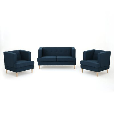 Farberware 3 Piece Living Room Set Upholstery: Navy Blue