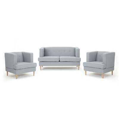 Cassady 3 Piece Living Room Set Upholstery: Light Gray