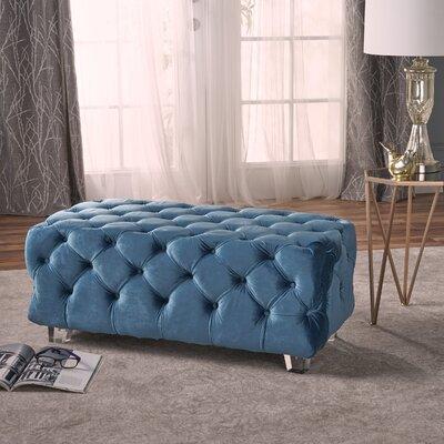 Lolita New Velvet Ottoman Upholstery: Aqua