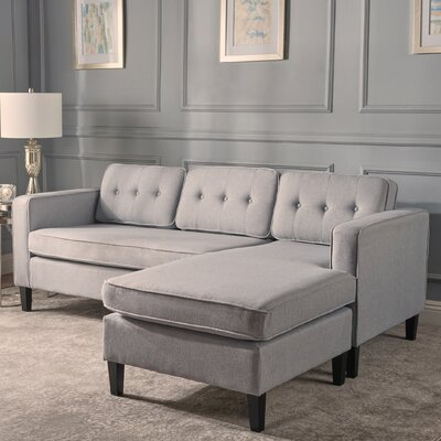 Farrand Reversible Modular Sectional Upholstery: Light Gray
