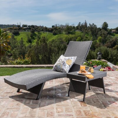 Franklin 2 Piece Adjustable Lounge  and Wicker Table Set Finish: Gray