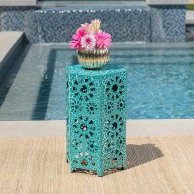 Balentine Outdoor Iron End Table Color: Teal