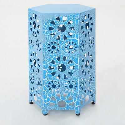 Balentine Outdoor Iron End Table Color: Blue