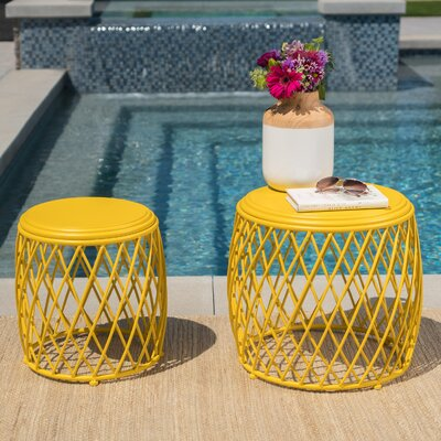 Biehl Outdoor Iron Side Table Color: Matte Yellow