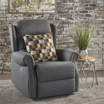Darci Power Recliner Upholstery: Charcoal
