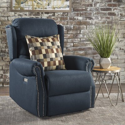 Darci Power Recliner Upholstery: Navy Blue