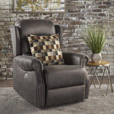 Darci Power Recliner Upholstery: Slate Microfiber