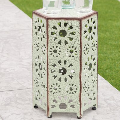 Bales Outdoor Iron End Table Color: Green