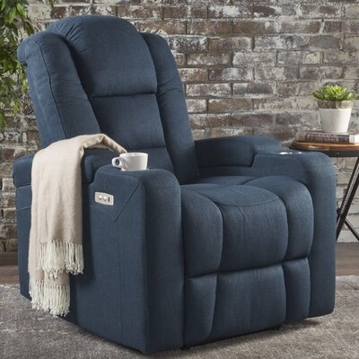 Deeann Power Recliner Upholstery: Navy Blue