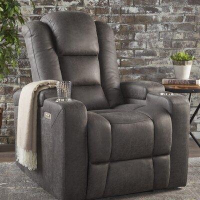Deeann Power Recliner Upholstery: Slate Microfiber