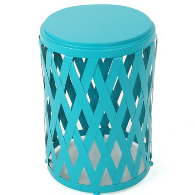 Ramiro Indoor Iron End Table Color: Teal