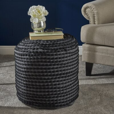 Cranmer Fabric Pouf Ottoman Upholstery: Black